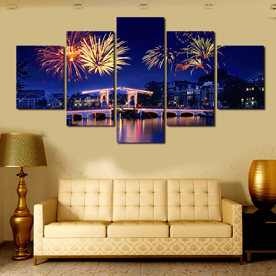 2017 Unframed Hot Sell Fireworks City Canvas Painting Modern Home ...