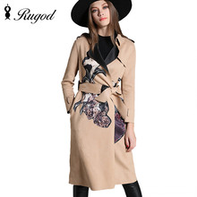 Hot sale 2016 Spring Autumn Brand Casual Trench Coat For Women Plus Size Long Fashion Printed Slim Windbreaker Outerwear Coats