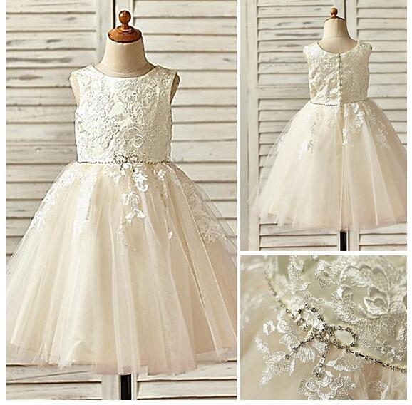 Girl's Pageant Formal Dress 2017 Flower Girls Princess Dresses Lace Embroidered Gowns Kids Birthday Dress Children Wedding Dress asymmetric rhinestone design flower embroidered denim dress