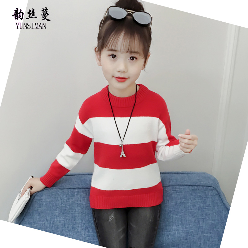 3-12 Y Children's Sweater 2018 Autumn Winter Long Sleeve O-neck Black White Stripe Knitted Sweater Kids Girls Clothes Tops 23M1A high neck button embellished knitted sweater