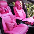 Charming Hot Pink Bowknot Universal Car Seat Covers Front and Rear Leather Seat Covers 13pcs