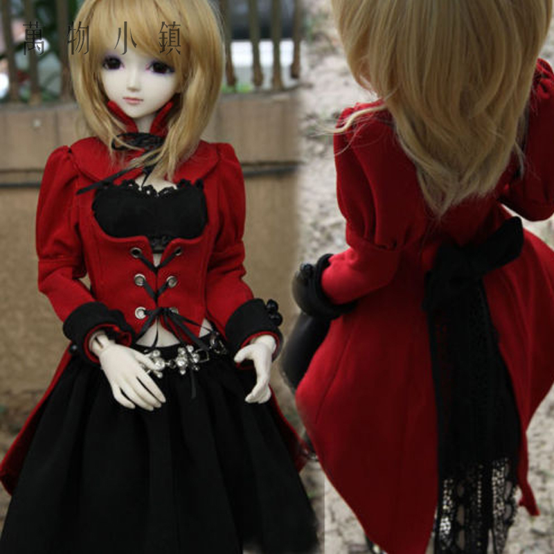 NEW Wester Style Uniform Red Black Dress Suit(4pcs) for big girl 1/3 1/4 BJD SD MSD Doll Clothes new bjd doll jeans lace dress for bjd doll 1 6yosd 1 4 msd 1 3 sd10 sd13 sd16 ip eid luts dod sd doll clothes cwb21