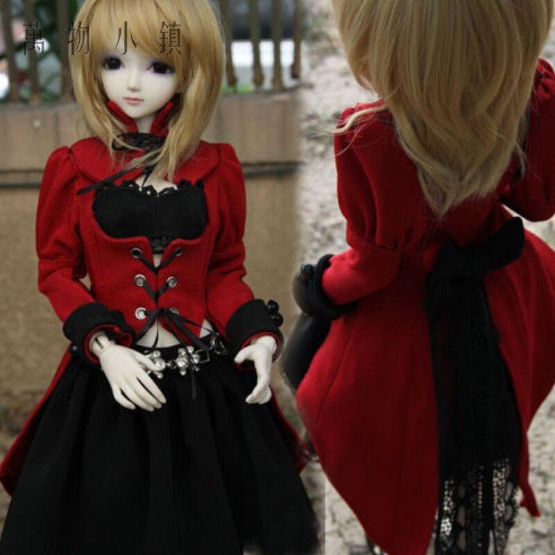 4pcs New 1//3 1//4 SD10 MSD DD-M//L BJD Clothes Sweet Cherry Navy Blue Dress//Suit