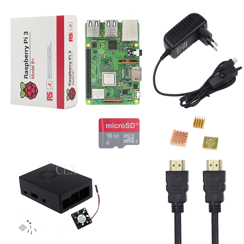 Raspberry Pi 3 Model B Starter Kit Case 16GB Card 5V 3A Power Adapter HDMI Cable