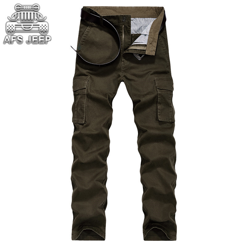 Cargo Men Pants Autumn Winter Thick Big Pockets Desgin Full Length Plus Size 44 Army Military Casual Tactical Male Clothing