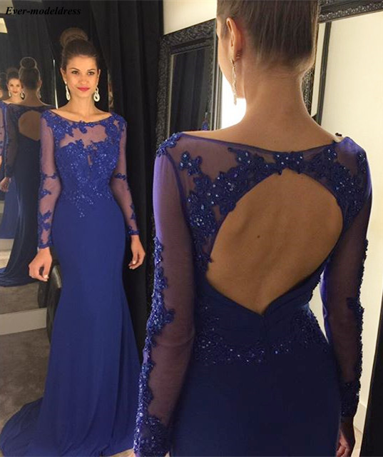 Royal Blue   Evening     Dresses   Mermaid Sexy Backless Lace Appliques Beaded Sweep Train Chiffon Long Prom Party Gowns Robe de soiree