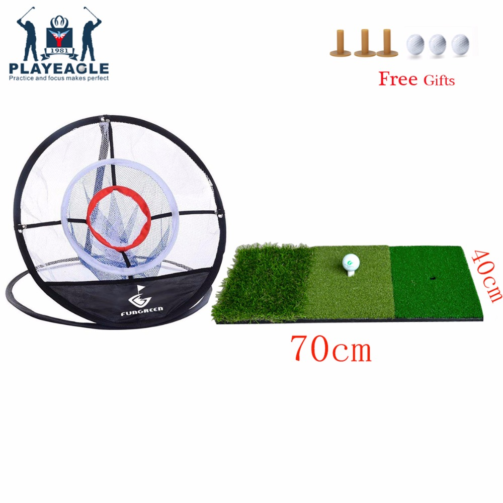 FUNGREEN Golf Hitting Mat 40x70cm Indoor Chipping Net And Mat Practice Rubber Tee Holder Mat Eco-friendly Golf Chipping Mat