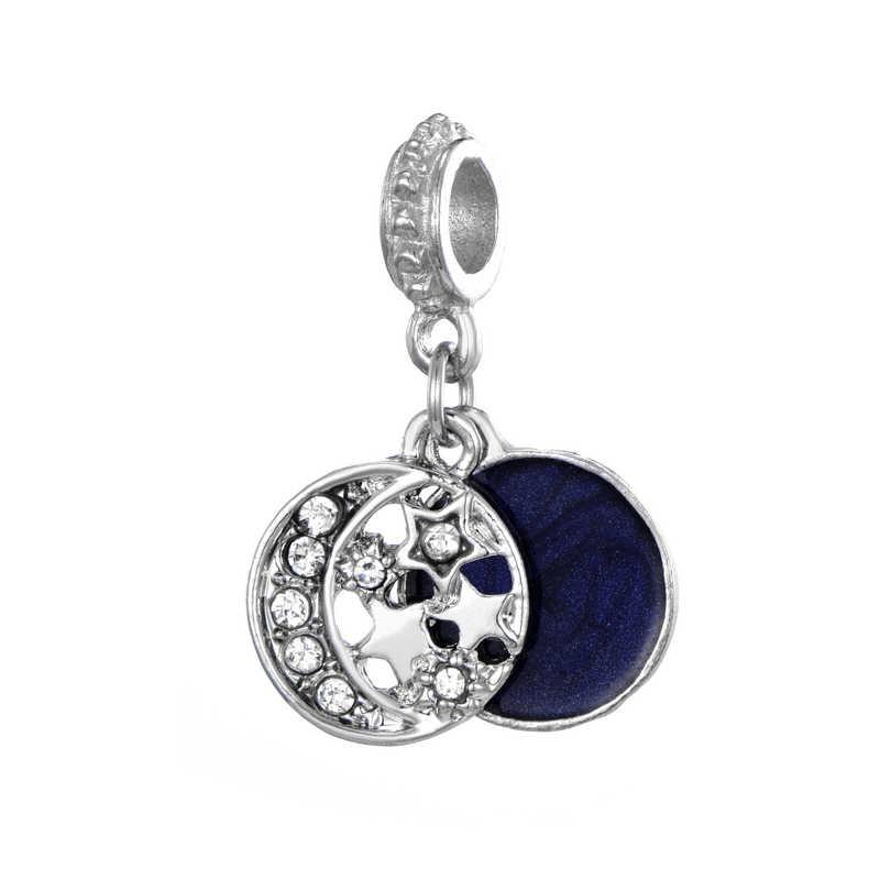 CUTEECO New Arrival srebrny kolor Moon Star Charms niebo koraliki charm w stylu fit bransoletka pandora i naszyjnik dla kobiet biżuteria akcesoria