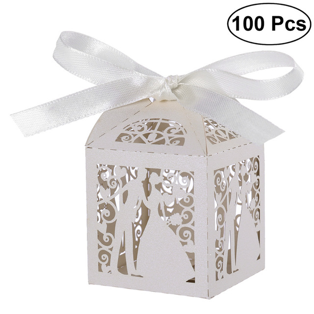 100 PCS คู่ออกแบบหรูหราตัดเลเซอร์ของหวานขนม Candy ของขวัญกล่อง Favor ริบบิ้นตกแต่งตาราง (สีขาว)