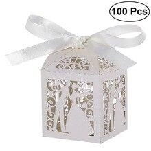 100 adet çift tasarım lüks lazer kesim düğün tatlılar şeker hediye favor kutuları ile şerit masa süslemeleri (beyaz)