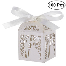 100pcs Couple Design Luxury Lase Cut Wedding Sweets Candy Gift Favour Boxes with Ribbon Table Decorations (White)