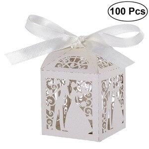 Image 1 - Cajas de Regalo para dulces de boda de corte láser de lujo, diseño de pareja, con cintas decorativas para mesa, color blanco, 100 Uds.