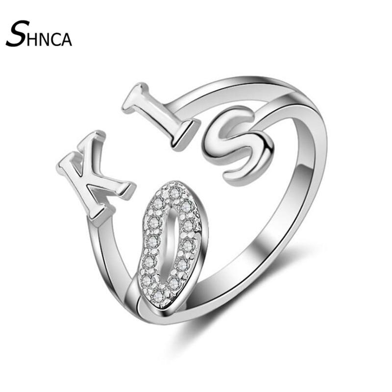 Wedding 925 Sterling Silver Rings Classic Letter Kiss Lips Aaa Cubic Zirconia Open Rings For Women Girl Gi t Jewellery R060