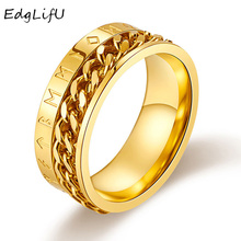 EdgLifU Norse Viking Symbol Ring Stainless Steel Gold Cuban Link Rotaal Rings Rotatable Links Male Anel Alliance