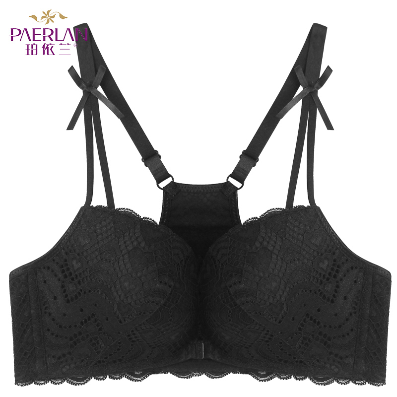 PAERLAN Sexy Back Vest Type Seamless Underwear Wire Free Front Closure Push Up Women Bra 5/8 Cup Bow Floral Lace Small Chest