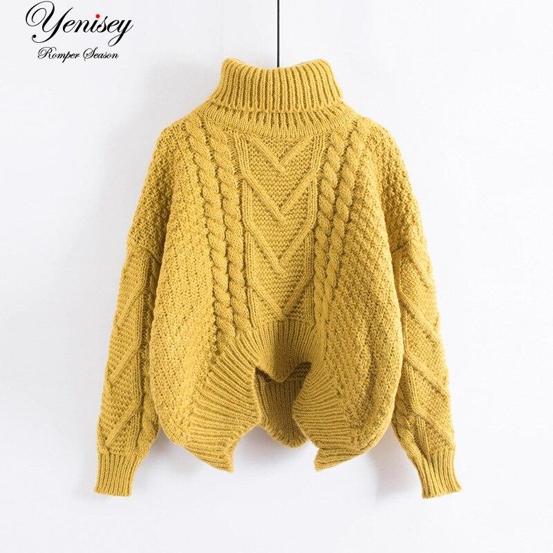 Suéter de cuello suelto para mujer manga corta de murciélago viento abrigo de lana gruesa