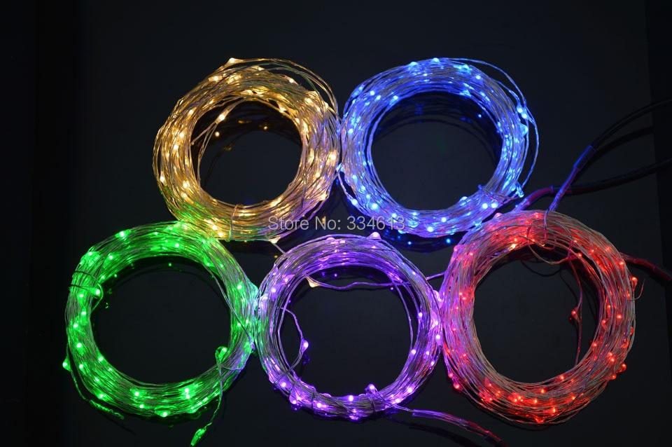 9 Warna 5M 50 Leds Kawat Tembaga LED String Light Lampu Starry + Mini Dimmer + Power Adapter, Dapat beralih di antara 3 mode