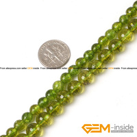 Round Green Peridot Beads Selectable Size 6mm 8mm Fashion Jewelry Beads For Women Bracelet Making Strand