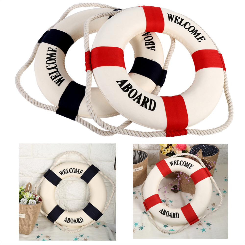 Welcome aboard boat ships life ring clock - 2017 Fashion Mediterranean Foam Home Decor Nautical Decorative Lifebuoy Life Ring Wall Hanging Showcase Room Special