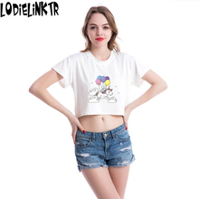 Balloon Unicorn T Shirt For Women 2018 Funny O-neck Casual Fashion Slim Short t-shirt Femme Sexy Casual Short Sleeve 5VB42
