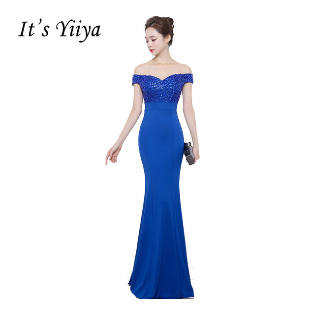 It s YiiYa Sweetheart Off Shooulder Trumpet Mermaid Prom Dresses Simple  Beading Sequined Floor Length Luxury Evening 99d375b78f68