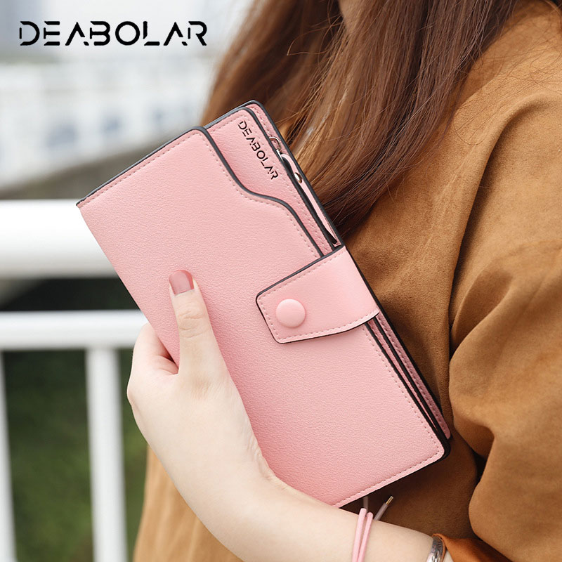 DEABOLAR 2017 Big Capacity Hasp Zip Woman Leather Purse Fashion Hand Clutch Wallet with Card Holder Phone Pocket for Women Lady casual weaving design card holder handbag hasp wallet for women