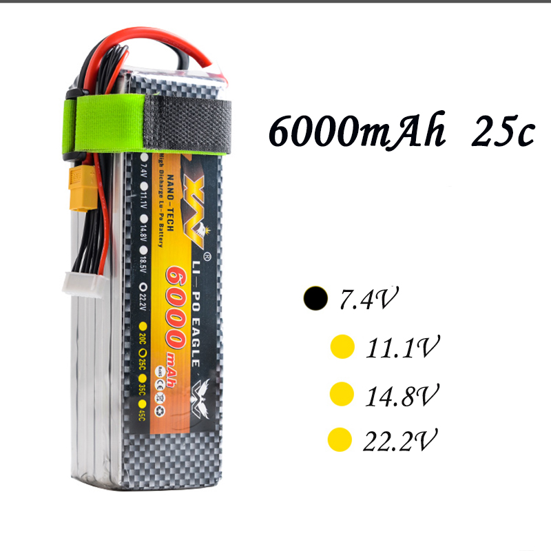 High Quality RC Battery 7.4V 6000mAh 25C Max 55C 2S 2Cells 7.4Volt RC LiPo Li-Poly Battery for Helicopters Quadcopter RC drone