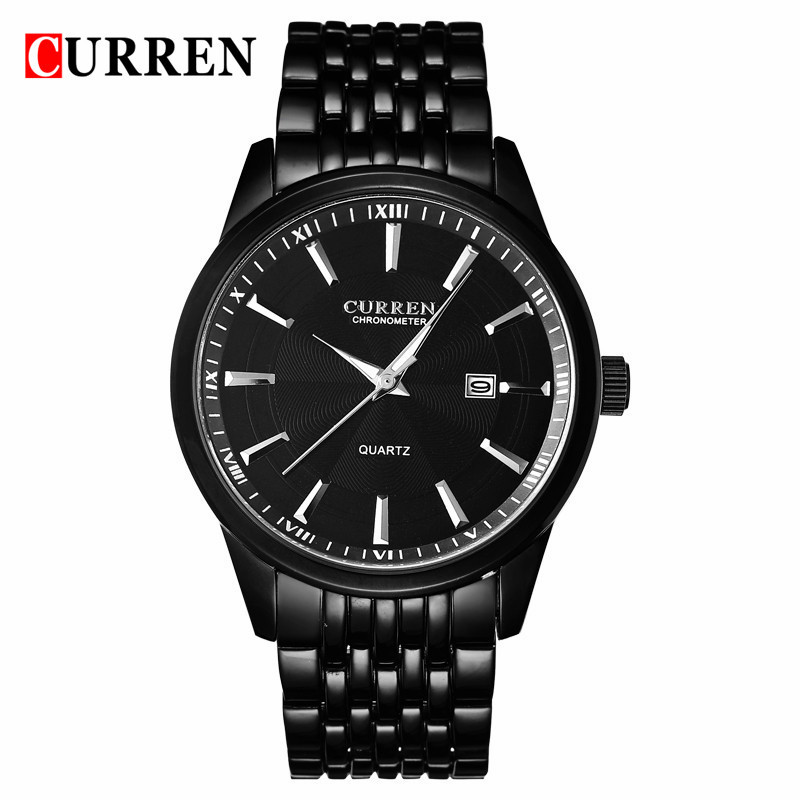 <font><b>Curren</b></font> <font><b>8052</b></font> Mens Watches Top Brand Luxury Black Stainless Steel Analog Quartz Watch 2017 Fashion Men Sport Wristwatches Relogios image