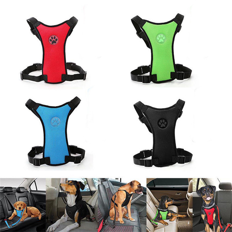 Breathable  Mesh Dog Harness Leash With Adjustable Straps Pet Harness With Car Automotive Seat Safety Belt Dog Chest Straps (8)