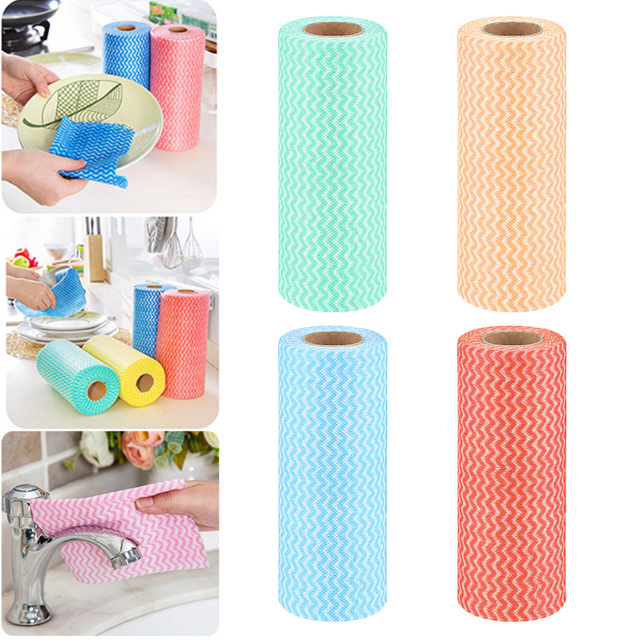 50pcs Roll Non Woven Fabric Washing Cloth Disposable Bowl Oil Duster Water Absorbent Dishcloths Kitchen Bathroom Cleaning