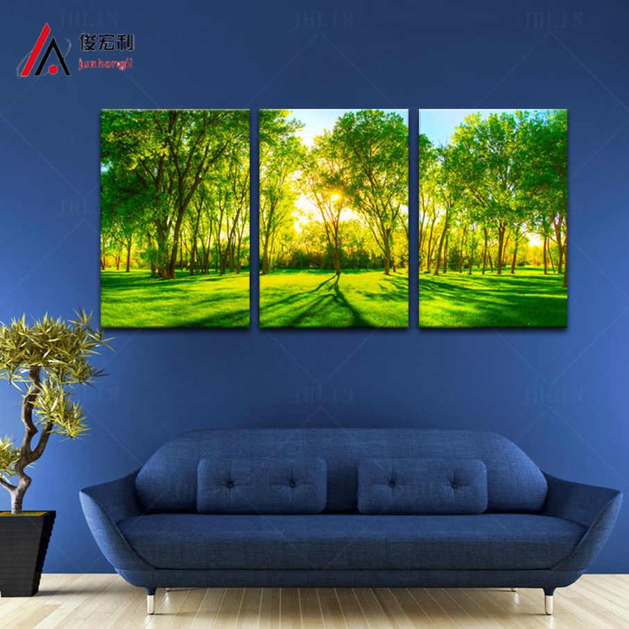 3 قطعة المشرقة أشجار الغابات الخضراء حديقة المنزل الديكور الفني قماش طباعة الصورة الكبيرة وحدات صورة جدار الفن شحن مجاني