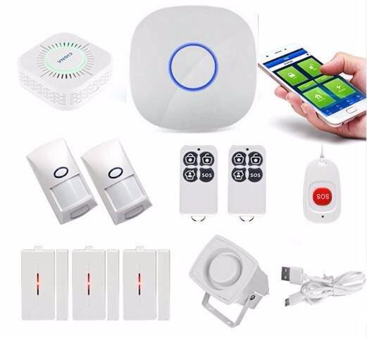 GSM Alarm System With PIR Sensor Smoke Detector Door Contact