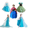 fast shipping New snow queen elsa anna dress baby girls Cosplay Costume princess Kids clothes Christmas dress for children