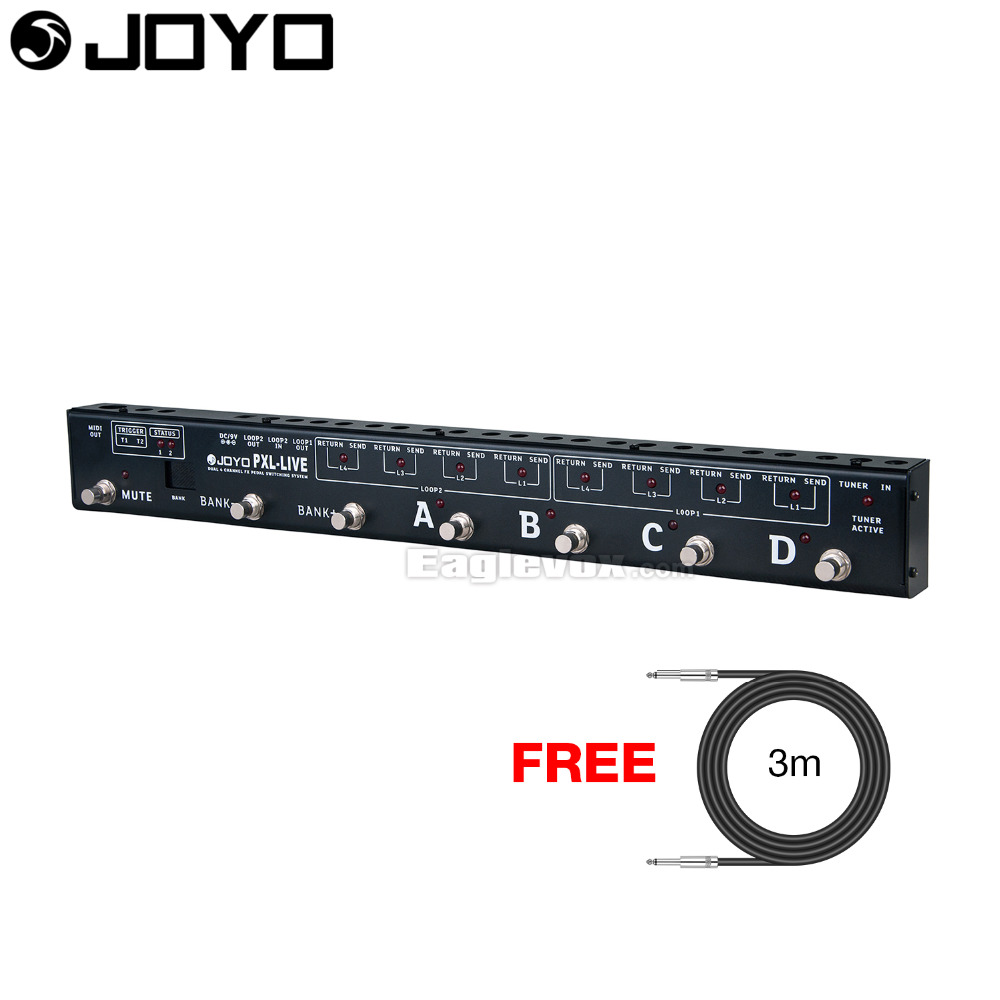 Joyo Dual 4-Channel Programable Pedal Controller PXL Live with Free 3m Cable хай хэт и контроллер для электронной ударной установки roland fd 9 hi hat controller pedal