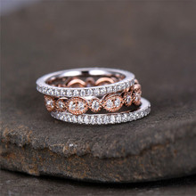 1 PC Three-in-one combination ring Fashionable shiny lady inlaid zircon ring Personalized party copper ring