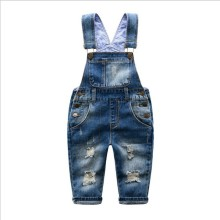 2016 spring autumn Baby boy Distrressed overalls bib child denim pants infant jumpsuit children's clothing baby knit romper kids
