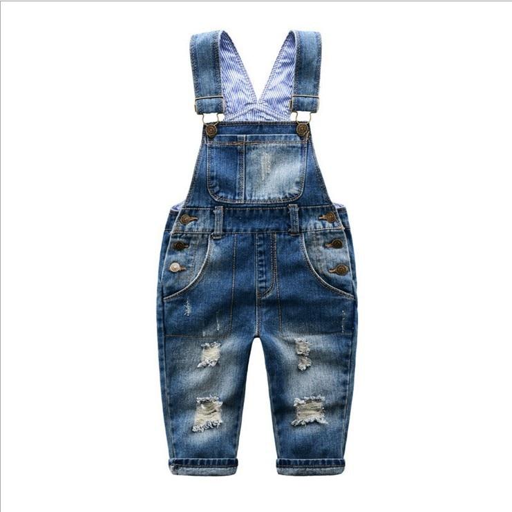 2018 Printemps Automne Bébé Garçons Denim Salopettes Enfants Cassé Trou Pantalon Bébé Fille Bande Ceinture Jeans Occasionnels Pantalon Salopette Infantile