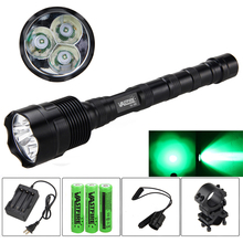 5000LM LED Tactical Gun Flashlight r5 Green/Red Torch lantern Rail 20mm Airsoft Rifle Scope Mount 18650 battery+charger+remote vastfire led tactical gun flashlight va 802 xml t6 hunting torch lantern rail 20mm airsoft rifle scope mount gun scout light
