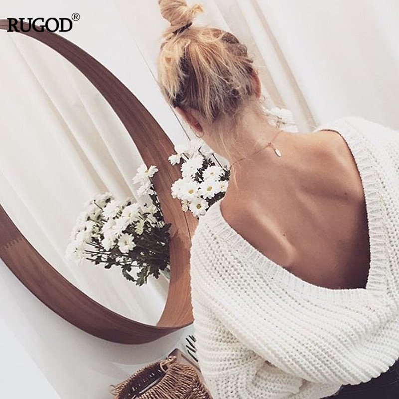 Rugod 19 New Sexy Backless V-neck Sweater Women Pullover Autumn Winter Casual Knitted Sweater Femme Tricot Pullover Jumpers 8