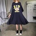 [Xitao] 2017 moda coréia nova primavera feminino oversize o-pescoço pullover three quarter manga splicing assimétrica dress att026