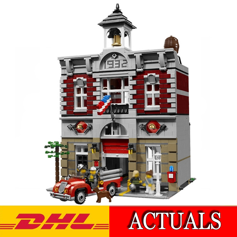 2018 New Lepin 15004 2313Pcs City Creator Fire Brigade Model Building Kits Blocks Bricks Educational Toy Gift Compatible 10197 lepin 15018 3196pcs creator city series sunshine hotel model building kits brick toy compatible christmas gifts