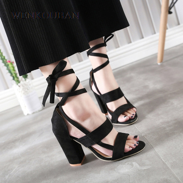 5a1987e11ca High Heel Sandals Women Lace Up Gladiator Sandals Summer Block Heels Shoes  Ladies Sexy Red Bottom