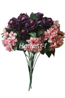 Artificial Multi Coloured Rose Silk Flowers Bounquet Home Hotel Room Wedding Decoration Purple Rose Small Pink
