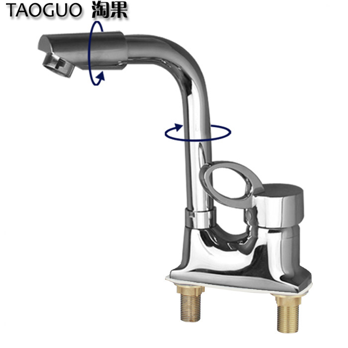 Fruit double hole basin mixed water valve double three hole wash basin hot and cold faucet