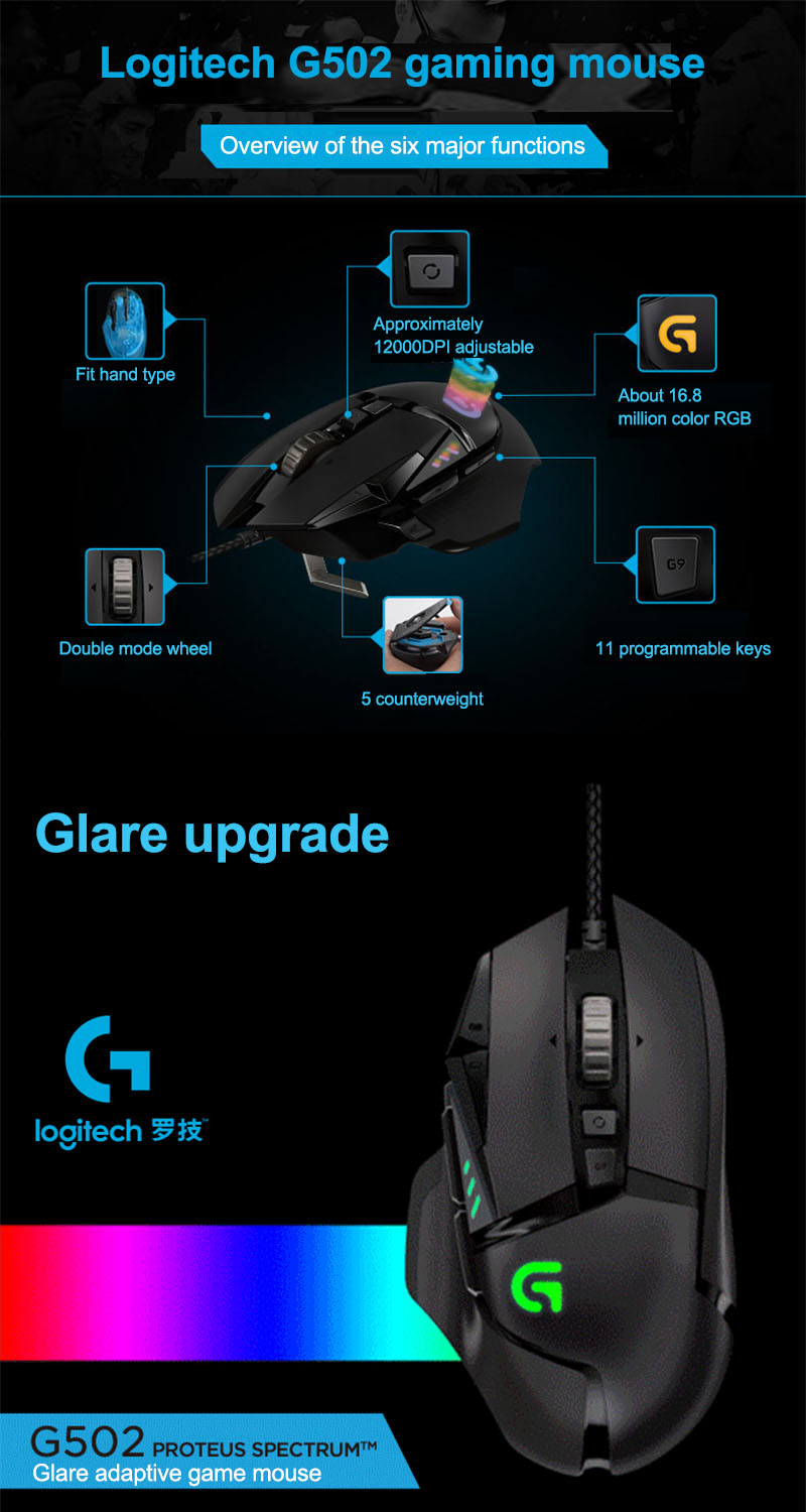 US $55 45  Logitech G502 RGB Proteus Spectrum RGB Tunable Gaming Mouse-in  Mice from Computer & Office on Aliexpress com   Alibaba Group