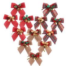 12 шт./лот, изящный бант, рождественский подарок, банты с маленькими колокольчиками, самодельные банты, Елочное украшение, Рождественский гал...