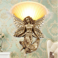 European living room background wall lamp bedroom bedside lamp stairs aisle corridor works creative decoration angel wall lamp