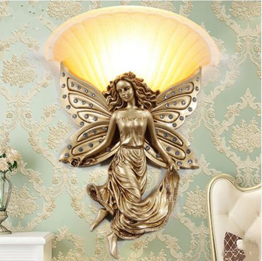 Купить European living room background wall lamp bedroom bedside lamp stairs aisle corridor works creative decoration angel wall lamp в Москве и СПБ с доставкой недорого