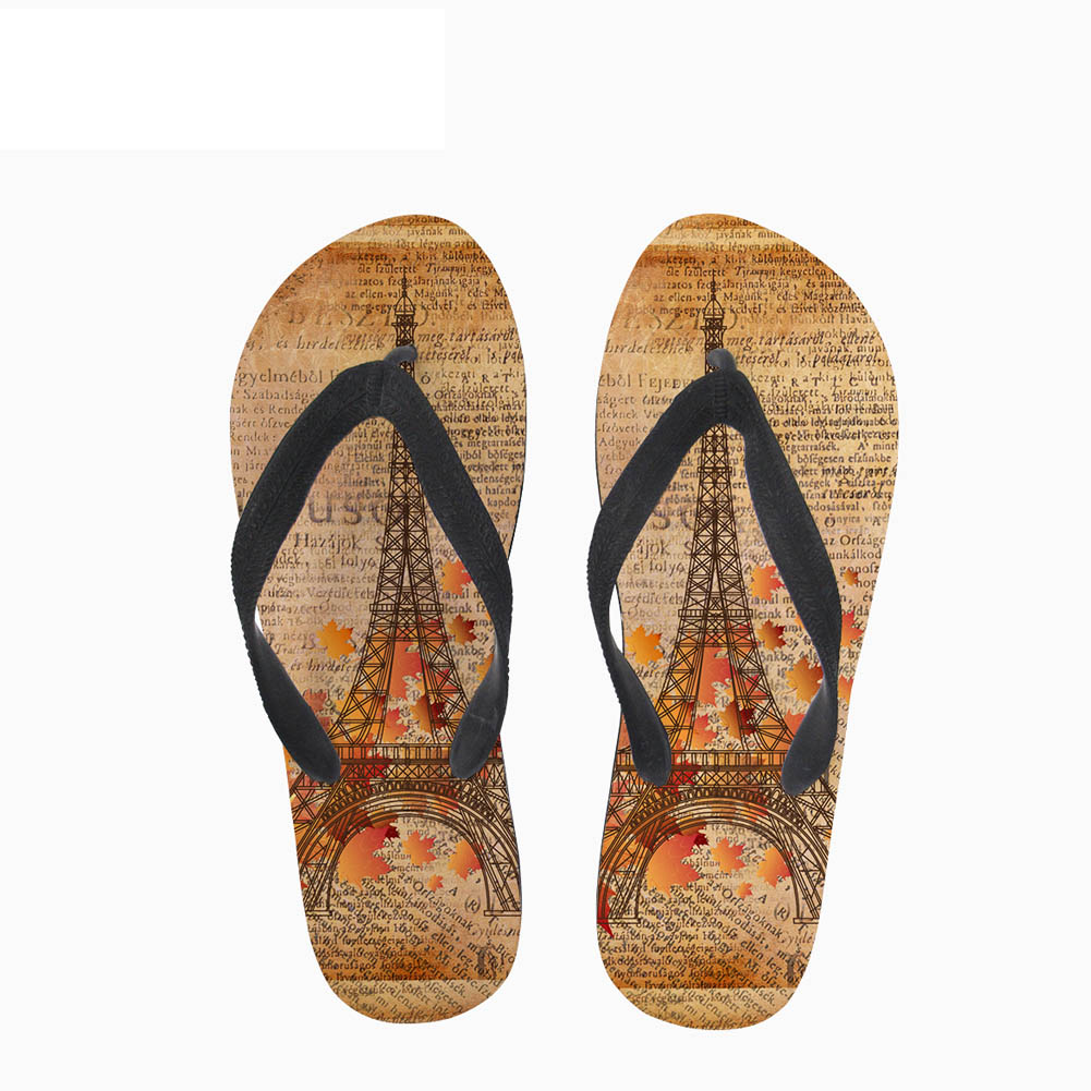 Sandals Shower Slides Men Outdoor Retro Building Print Flip Flops Fashion Men's Slippers and Sandals Daily Wear
