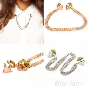 Women Fashion OL Style Rock Chains Spike Rivets Stud T-shirt Collar Tips Brooch image